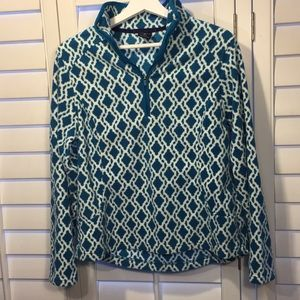 Lands' End teal and white fleece